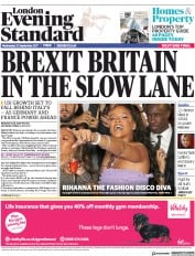 London Evening Standard (UK) Newspaper Front Page for 21 September 2017
