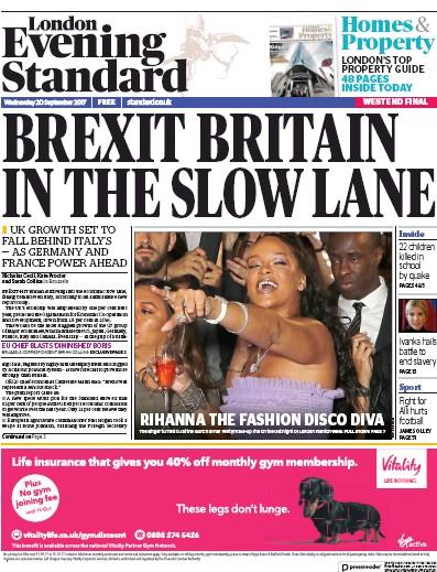 London Evening Standard Newspaper Front Page (UK) for 21 September 2017