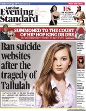 London Evening Standard Newspaper Front Page (UK) for 22 October 2012