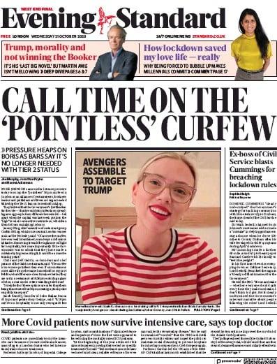 London Evening Standard Newspaper Front Page (UK) for 22 October 2020