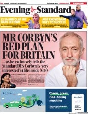 London Evening Standard (UK) Newspaper Front Page for 22 November 2019