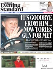 London Evening Standard (UK) Newspaper Front Page for 22 December 2017
