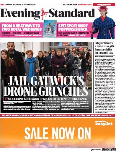 London Evening Standard Newspaper Front Page (UK) for 22 December 2018