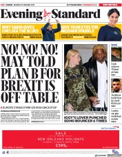 London Evening Standard (UK) Newspaper Front Page for 22 January 2019