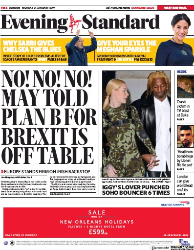 London Evening Standard Newspaper Front Page (UK) for 22 January 2019