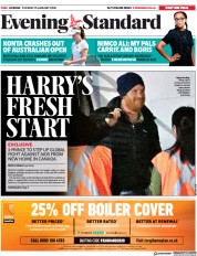 London Evening Standard (UK) Newspaper Front Page for 22 January 2020