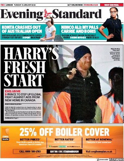 London Evening Standard Newspaper Front Page (UK) for 22 January 2020