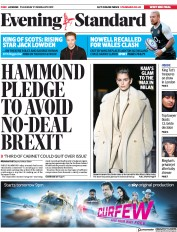 London Evening Standard (UK) Newspaper Front Page for 22 February 2019