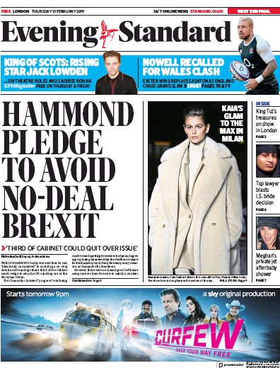 London Evening Standard Newspaper Front Page (UK) for 22 February 2019