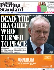 London Evening Standard (UK) Newspaper Front Page for 22 March 2017