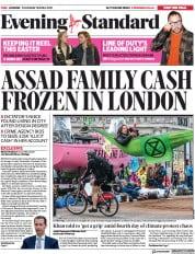 London Evening Standard (UK) Newspaper Front Page for 22 April 2019