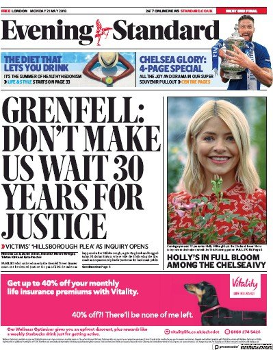 London Evening Standard Newspaper Front Page (UK) for 22 May 2018