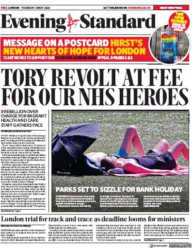 London Evening Standard Newspaper Front Page (UK) for 22 May 2020