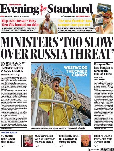 London Evening Standard Newspaper Front Page (UK) for 22 July 2020