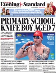 London Evening Standard () Newspaper Front Page for 22 July 2021