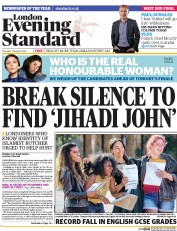 London Evening Standard (UK) Newspaper Front Page for 22 August 2014
