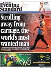 London Evening Standard (UK) Newspaper Front Page for 22 August 2017