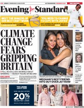 London Evening Standard (UK) Newspaper Front Page for 22 August 2019