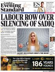 London Evening Standard (UK) Newspaper Front Page for 22 September 2017