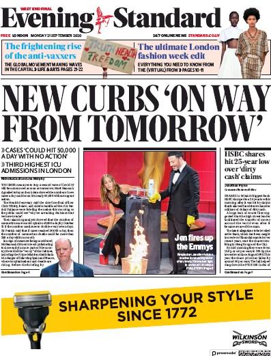 London Evening Standard Newspaper Front Page (UK) for 22 September 2020