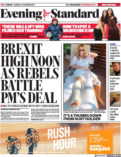 London Evening Standard Newspaper Front Page (UK) for 23 October 2019