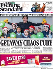 London Evening Standard (UK) Newspaper Front Page for 23 December 2017