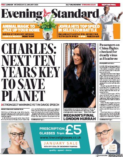 London Evening Standard Newspaper Front Page (UK) for 23 January 2020