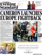 London Evening Standard (UK) Newspaper Front Page for 23 February 2016