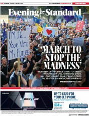 London Evening Standard (UK) Newspaper Front Page for 23 March 2019