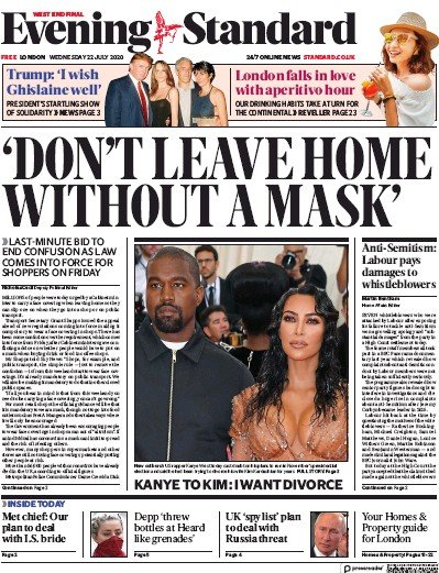 London Evening Standard Newspaper Front Page (UK) for 23 July 2020