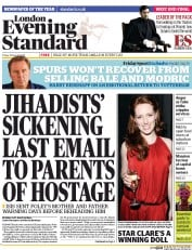 London Evening Standard (UK) Newspaper Front Page for 23 August 2014