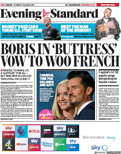 London Evening Standard Newspaper Front Page (UK) for 23 August 2019