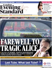 London Evening Standard (UK) Newspaper Front Page for 24 October 2014