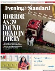 London Evening Standard (UK) Newspaper Front Page for 24 October 2019