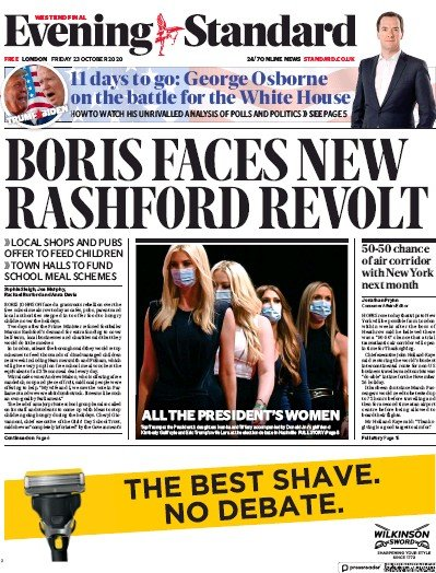 London Evening Standard Newspaper Front Page (UK) for 24 October 2020