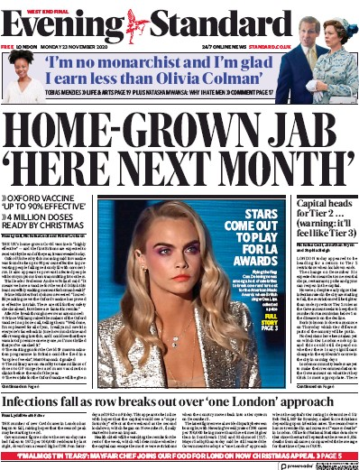 London Evening Standard Newspaper Front Page (UK) for 24 November 2020