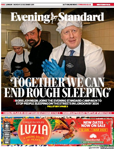 London Evening Standard Newspaper Front Page (UK) for 24 December 2019