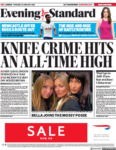 London Evening Standard Newspaper Front Page (UK) for 24 January 2020