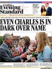 London Evening Standard (UK) Newspaper Front Page for 24 July 2013