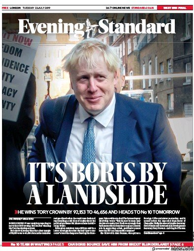 London Evening Standard Newspaper Front Page (UK) for 24 July 2019
