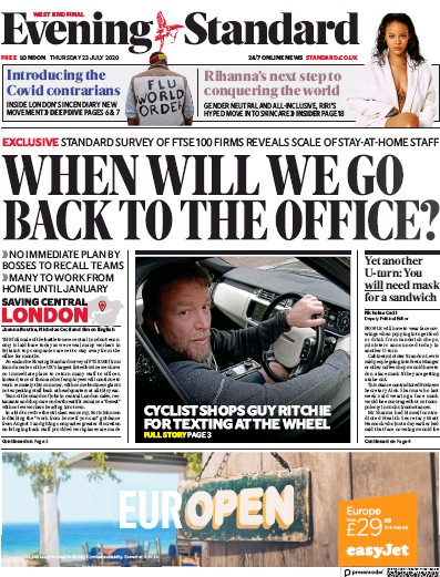 London Evening Standard Newspaper Front Page (UK) for 24 July 2020