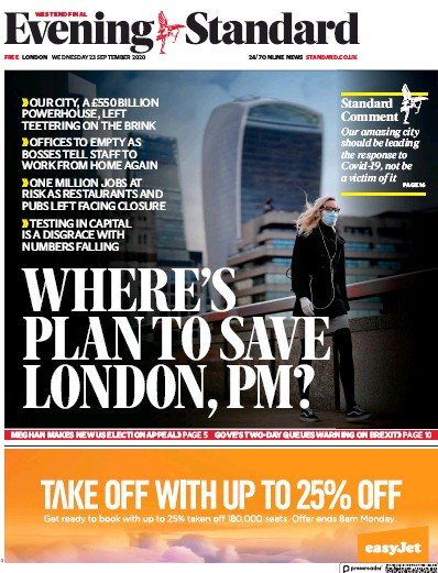London Evening Standard Newspaper Front Page (UK) for 24 September 2020
