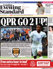 London Evening Standard (UK) Newspaper Front Page for 25 October 2014