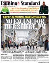 London Evening Standard front page for 25 November 2020