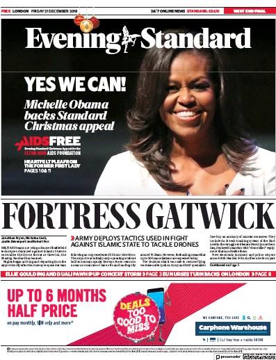 London Evening Standard Newspaper Front Page (UK) for 25 December 2018