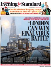 London Evening Standard front page for 25 December 2020