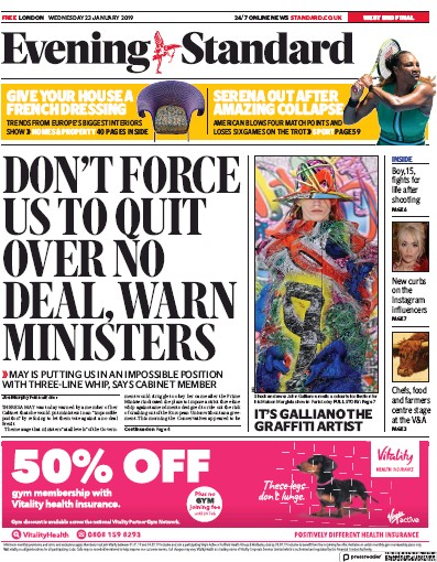 London Evening Standard Newspaper Front Page (UK) for 25 January 2019