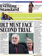 London Evening Standard () Newspaper Front Page for 25 February 2014