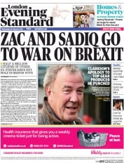 London Evening Standard (UK) Newspaper Front Page for 25 February 2016