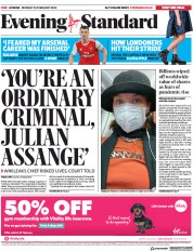 London Evening Standard (UK) Newspaper Front Page for 25 February 2020